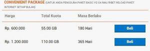harga paket internet bolt Convenient Package