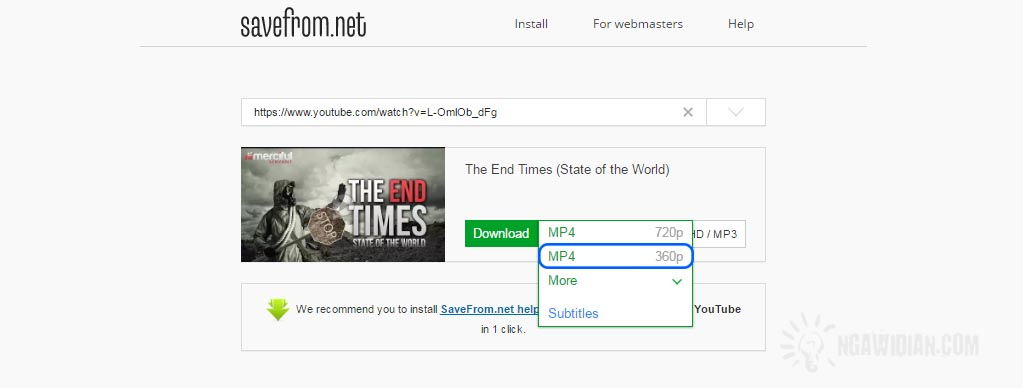 Cara Download Youtube Tanpa Software via Savefrom.Net 2