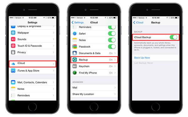 cara backup data iphone via icloud