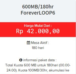 Paket internet ForeverLOOP6 Telkomsel 4G