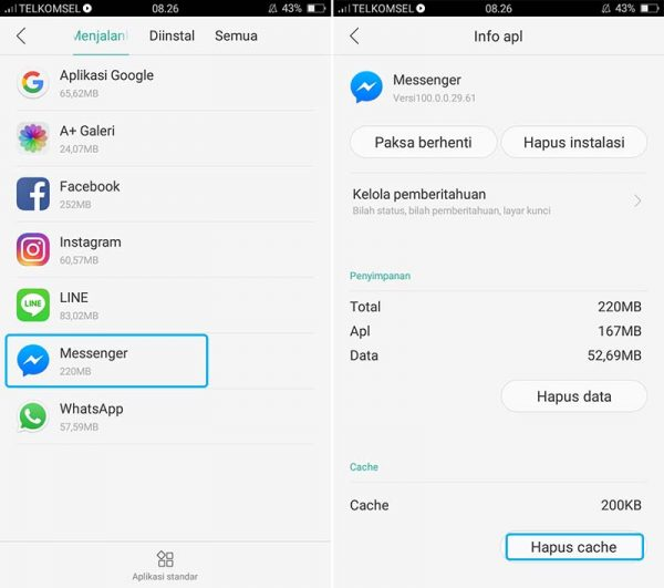 hapus file cache data aplikasi messenger