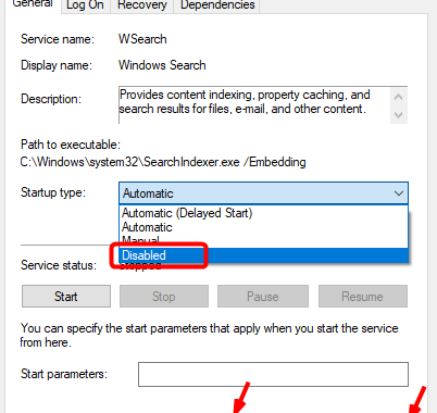 Disable windows search permanen 3